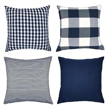 4TH Emotion Blue White Throw Pillow Case Cushion Cover Cotton Canvas for Sofa Set of 4(Pure Blue, Checkers Plaid, Stripe, Lattice)