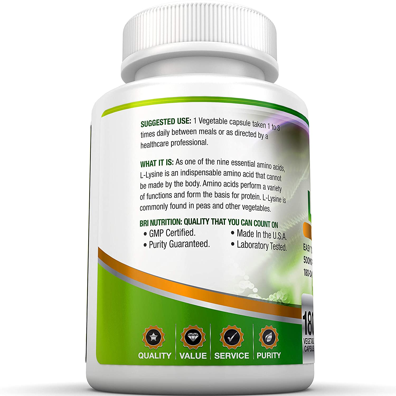 BRI Nutrition L-Lysine 180 Servings Per Bottle – Super 500mg Veggie Capsules
