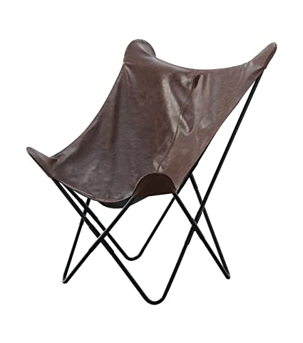 Attirant Abington Lane Faux Leather Butterfly Chair   Modern Smooth Leather Chair  With Metal Frame (Brown