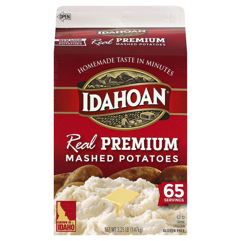 Idahoan Real Premium Mashed Potatoes, Made with Gluten-Free 100-Percent Real Idaho Potatoes, 3.25lb Carton (65 Servings)