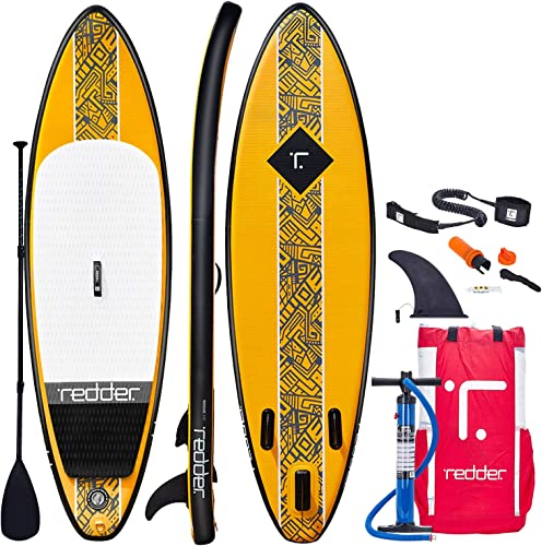 redder Inflatable Stand Up Paddle Board with Premium SUP Accessories Carry Bag Wide Stance, Bottom Fin for Paddling Surfing Leash, Paddle and Hand Pump, Non-Slip Deck Youth Adult