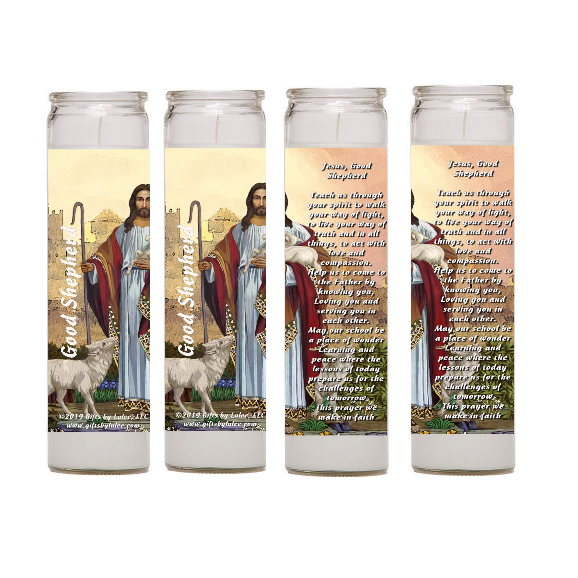 Our Lord Jesus The Good Shepherd Set of Two 2 Four 4 Glass Candles with Prayer (Four)