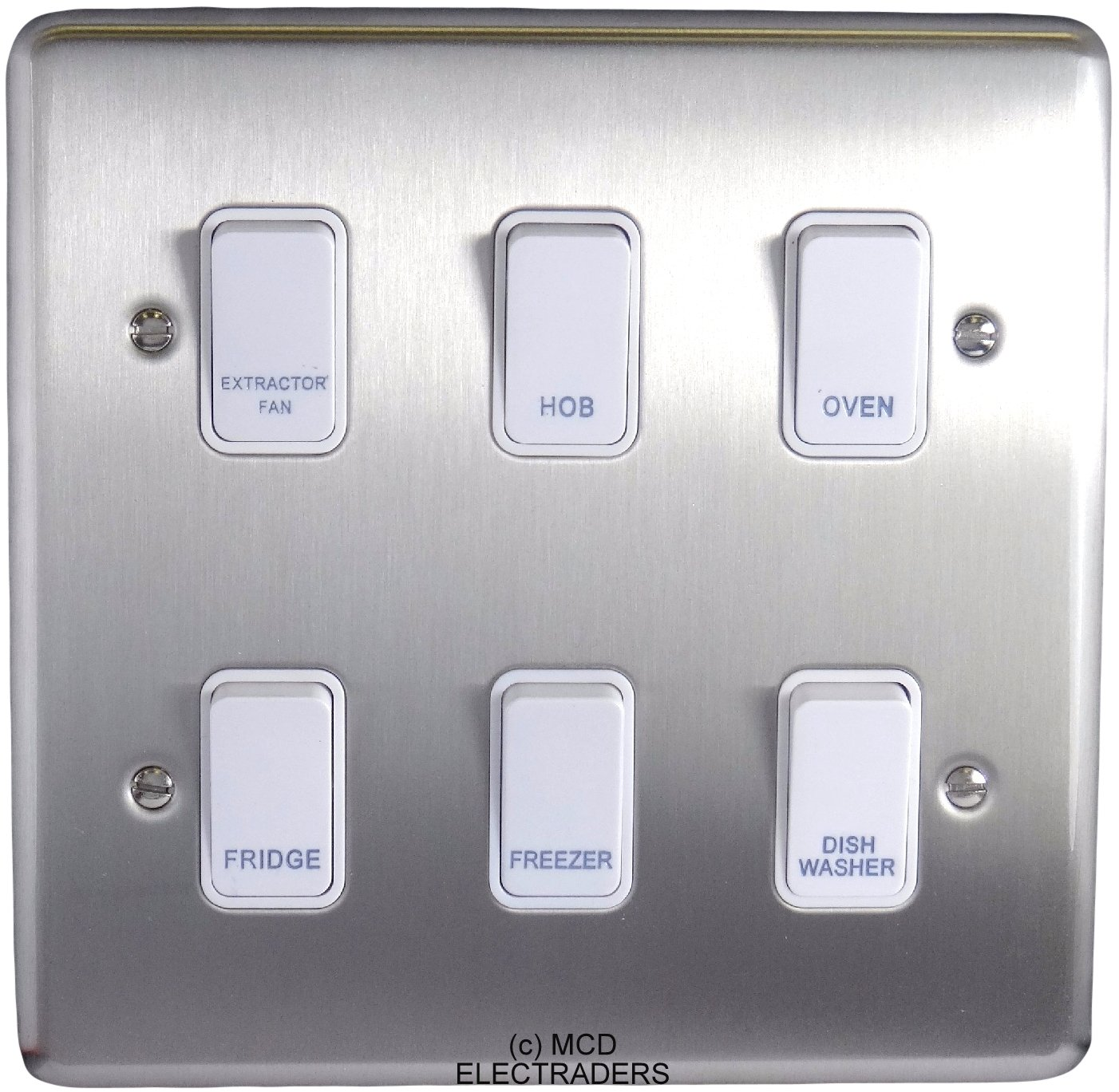 Polished Chrome Customised Kitchen Grid Switch Panel With Black 2 Gang 3 Way Light Satin White Switches 6