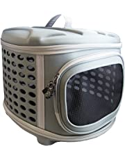 Pet Magasin Collapsible Hard Cover Pet Carrier - Portable Cat Travel Kennel with Hard Top & Floor Made from Sturdy Lightweight Fabrics for Cats, Small Dogs & Puppies