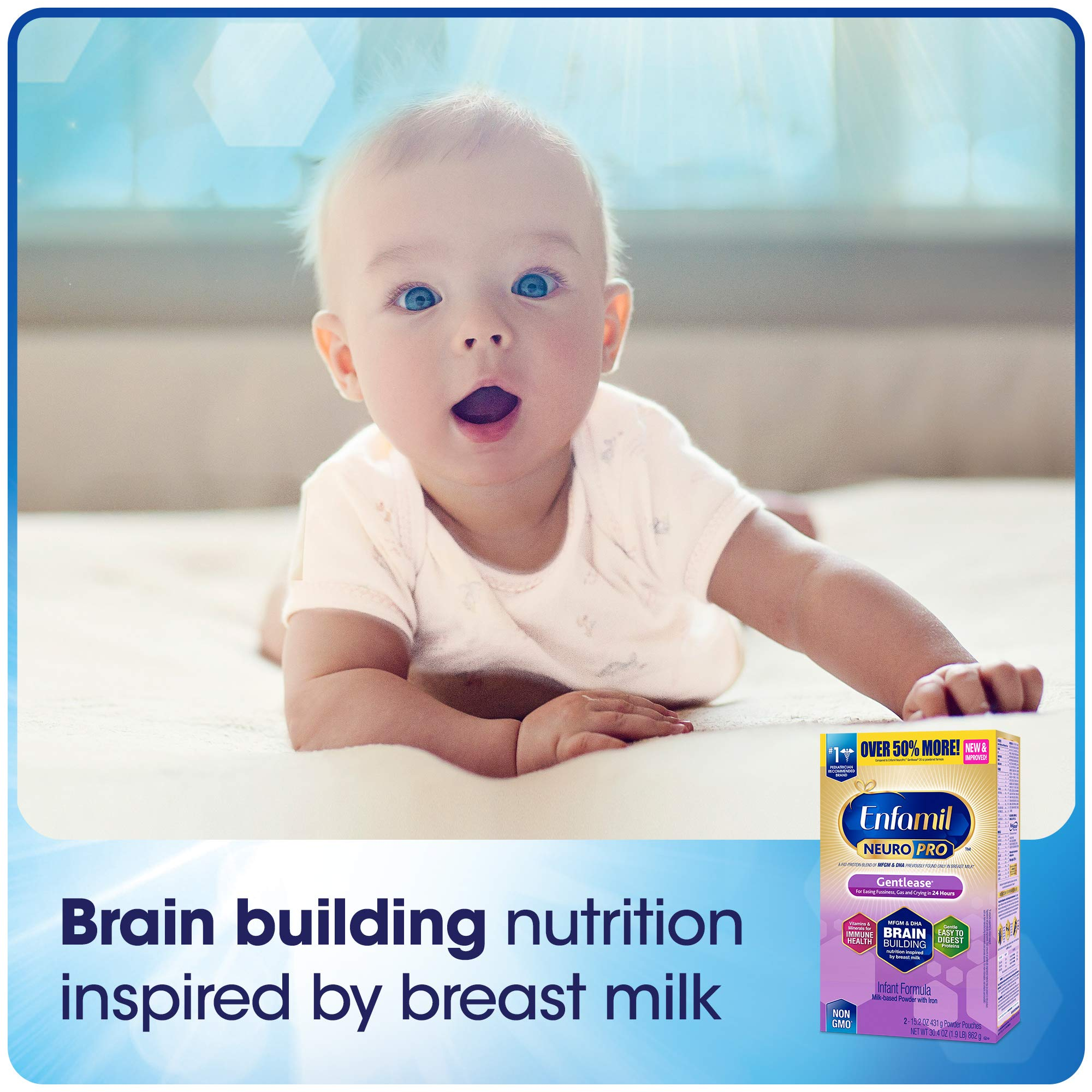 Enfamil NeuroPro Gentlease Infant Formula - Clinically Proven to reduce fussiness, gas, crying in 24 hours - Brain Building Nutrition Inspired by breast milk - Powder Refill Box, 30.4 oz (Pack of 4) by Enfamil (Image #5)