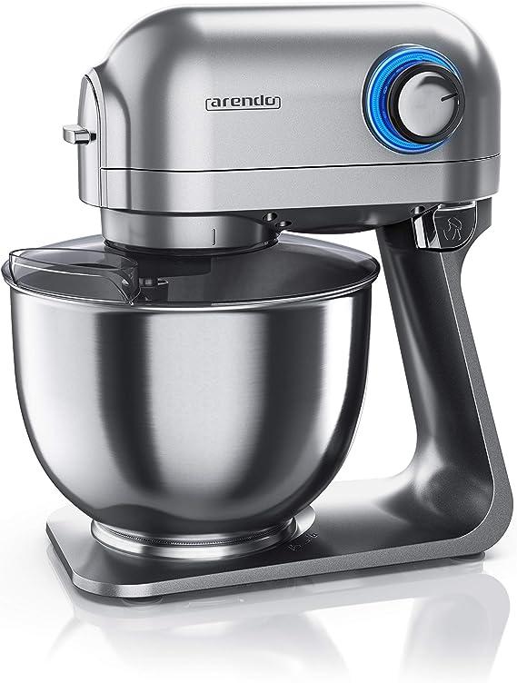 Arendo leistungsstarke Küchenmaschine 5l – Edelstahl Rührmaschine Knetmaschine Robot de cocina universal, Acero Inoxidable, gris (cool grey): Amazon.es: Hogar