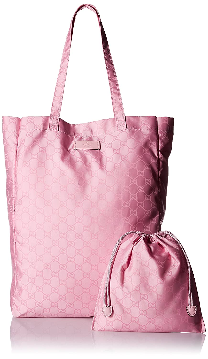 8210fa597 Amazon.com : Gucci Mama's Bag 281487 Baby Pink Nylon Gg Logo Tote Bag : Baby