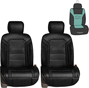 FH Group PU208102 Futuristic Leather Seat Cushions (Black) Front Set with Gift – Universal Fit for Cars Trucks & SUVs