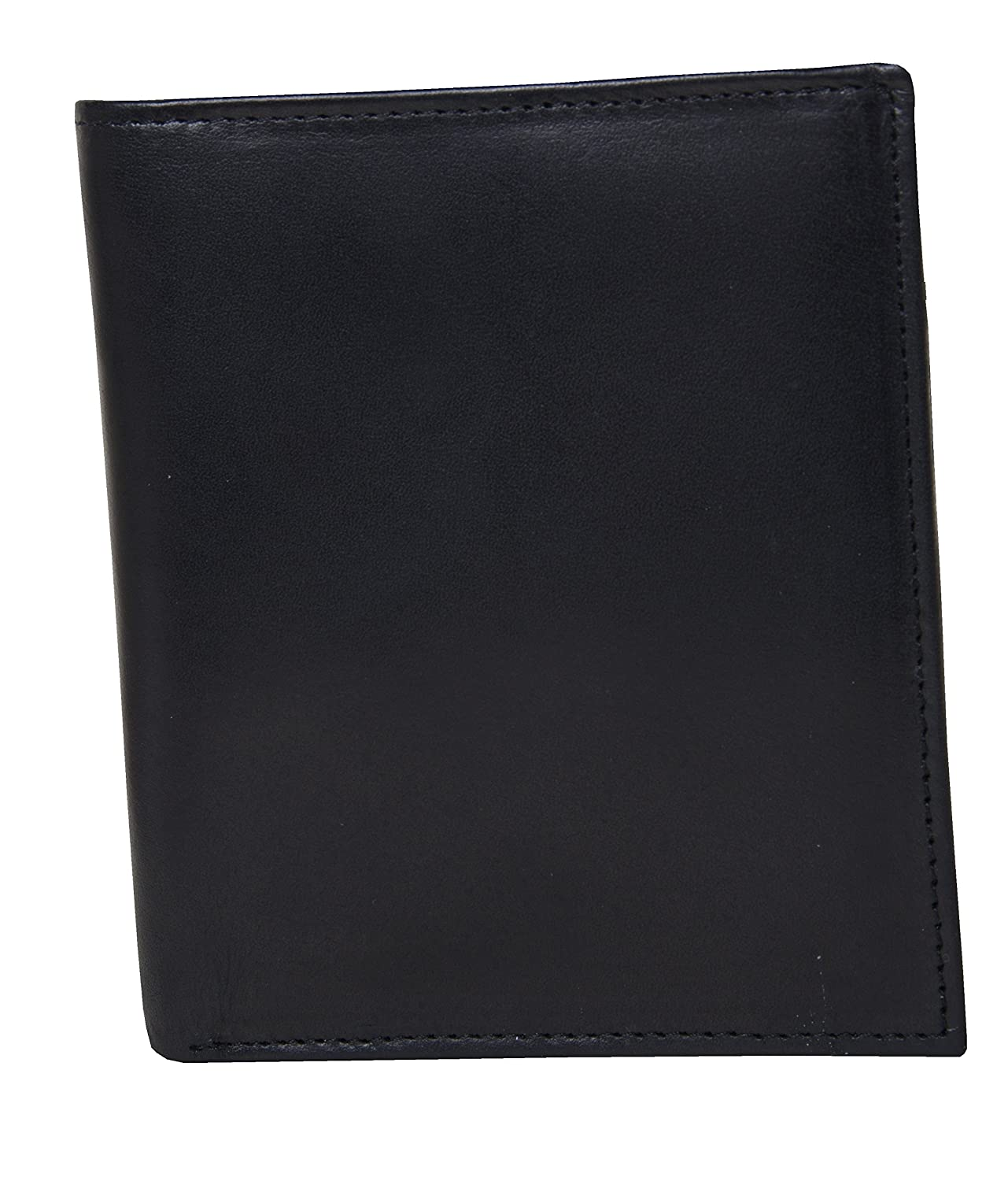 Mens Black Leather Bifold Hipster Wallet With RFID Blocking Technology In Box