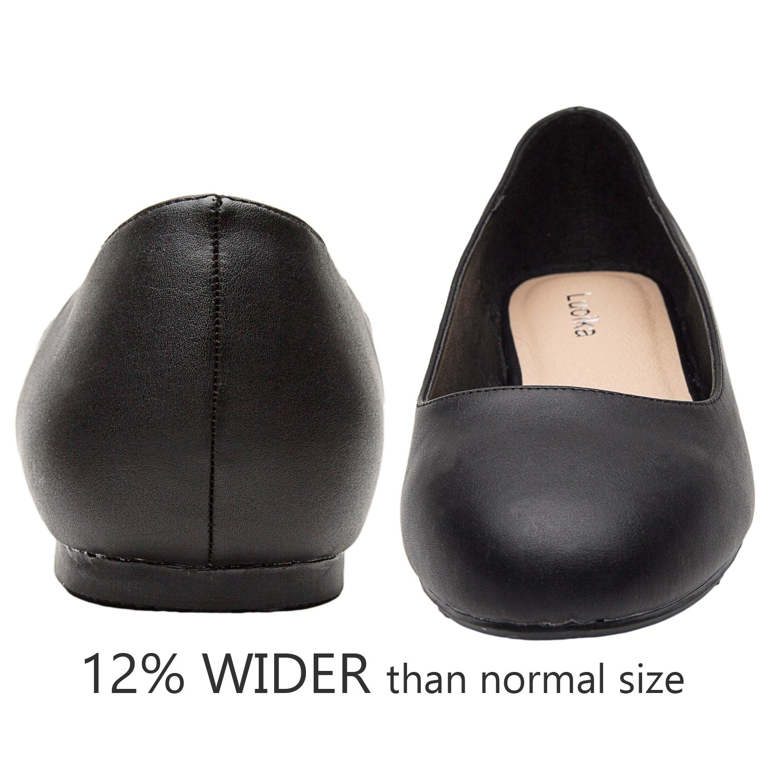 Luoika Women's Wide Width Flat Shoes - Comfortable Slip On Round Toe Ballet Flats. (180110 Black PU,9WW) by Luoika (Image #4)