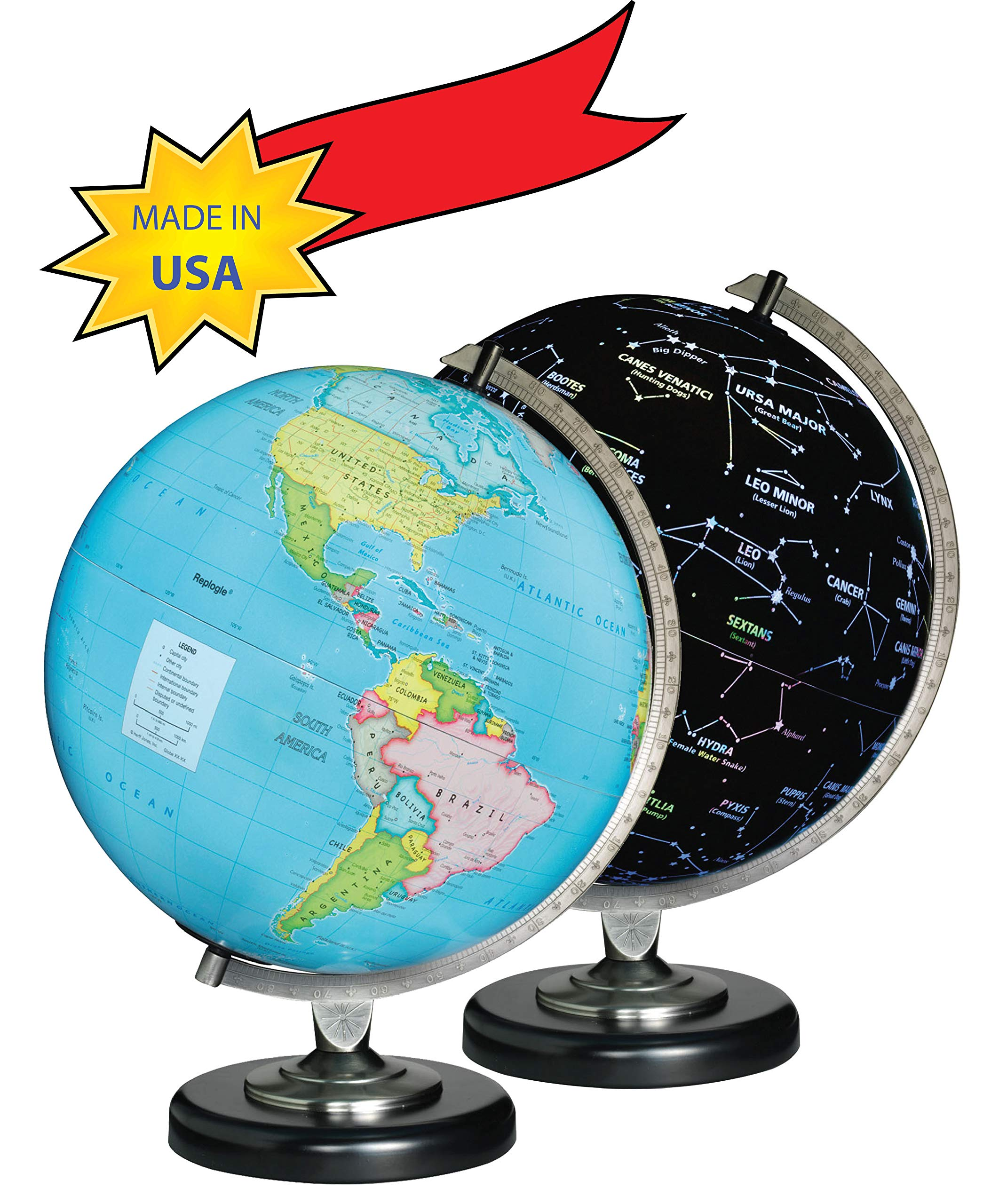 Replogle Day/Night Illuminated Globe, 12 Inches Political map on Outside and Constellations on Inside, Made in USA