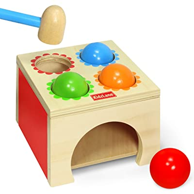 Kidzlane Toy Hammer and 4-Ball Wooden Play Set | Learn Colors, Counting, Building Ages 18M++: Toys & Games