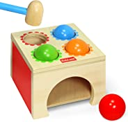 Kidzlane Toy Hammer and 4-Ball Wooden Play Set   Learn Colors, Counting, Building Ages 18M++