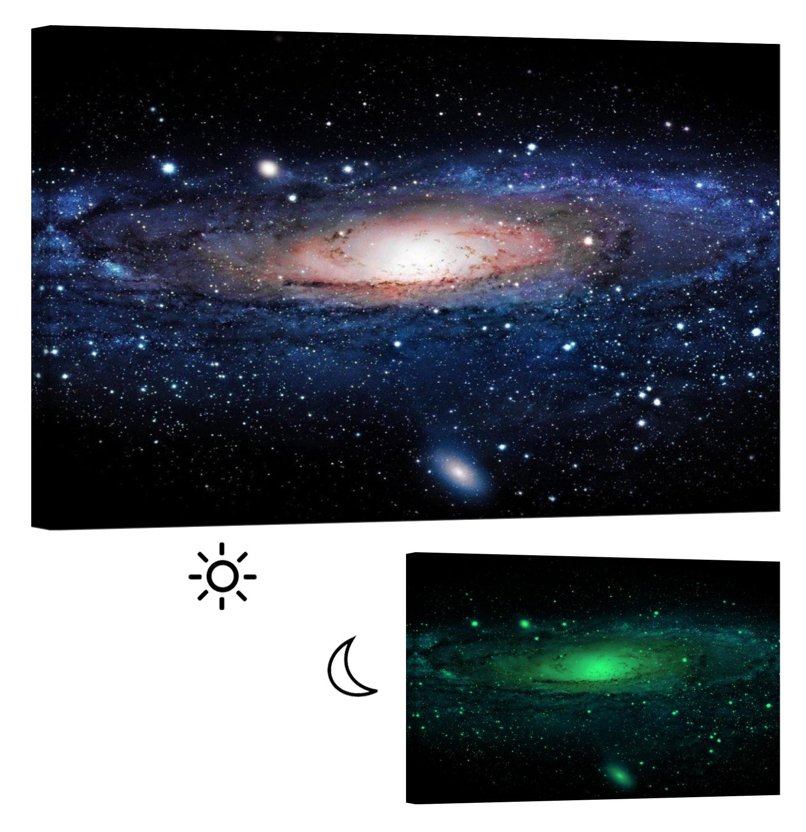 LightFairy Glow in the Dark Canvas Painting - Stretched and Framed Giclee Wall Art Print - Space Outerspace Milky Way Galaxy - Master Bedroom Living Room Decor - 6 Hours Glow - 46 x 32 inch