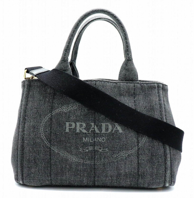 [プラダ] PRADA CANAPA カナパ ミニカナパ トートバッグ ハンドバッグ 2WAY ショルダーバッグ デニム ブラック NERO 1BG439 B07CBV8GR2