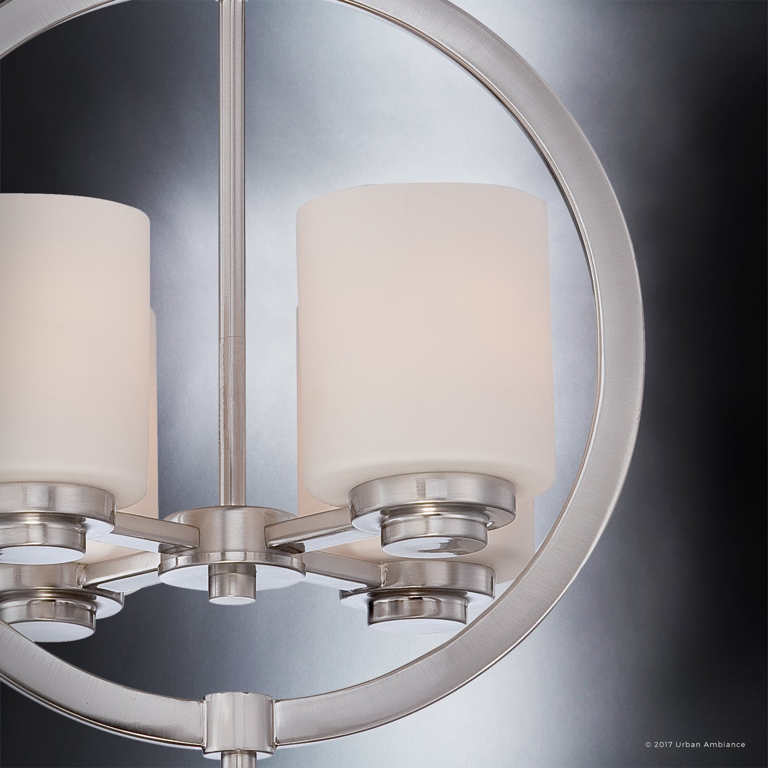 Luxury Contemporary Semi-Flush Ceiling Light, Medium Size: 15''H x 14''W, with Traditional Style Elements, Globe Design, Pretty Brushed Nickel Finish and Opal Etched Glass, UQL2171 by Urban Ambiance by Urban Ambiance (Image #5)