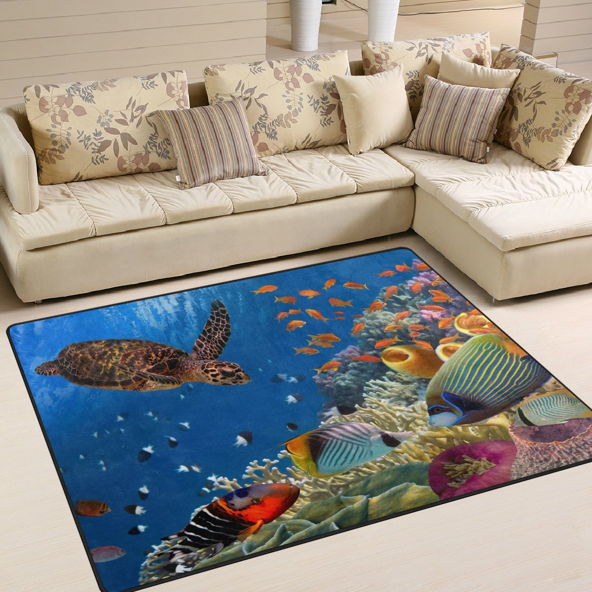 YZGO Colorful Coral Reef Turtle Fishes Under Sea Rug, Kids Children Area Rugs Non-Slip Floor Mat Resting Area Doormats