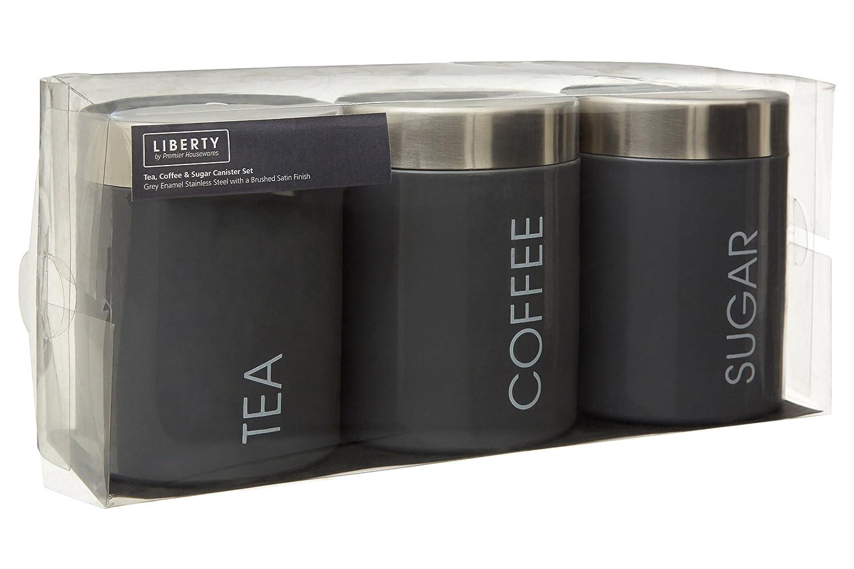 el Caf/é y el azucar-Juedo de 3-Pistacho Acero Inoxidable Coffee and Sugar Botes para el T/é 10 cm Premier Housewares Liberty Tea