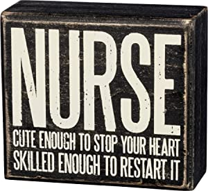 "Primitives by Kathy 33803 Box Sign, 4"" x 3.5"", Nurse Cute Enough to Stop Your Heart"