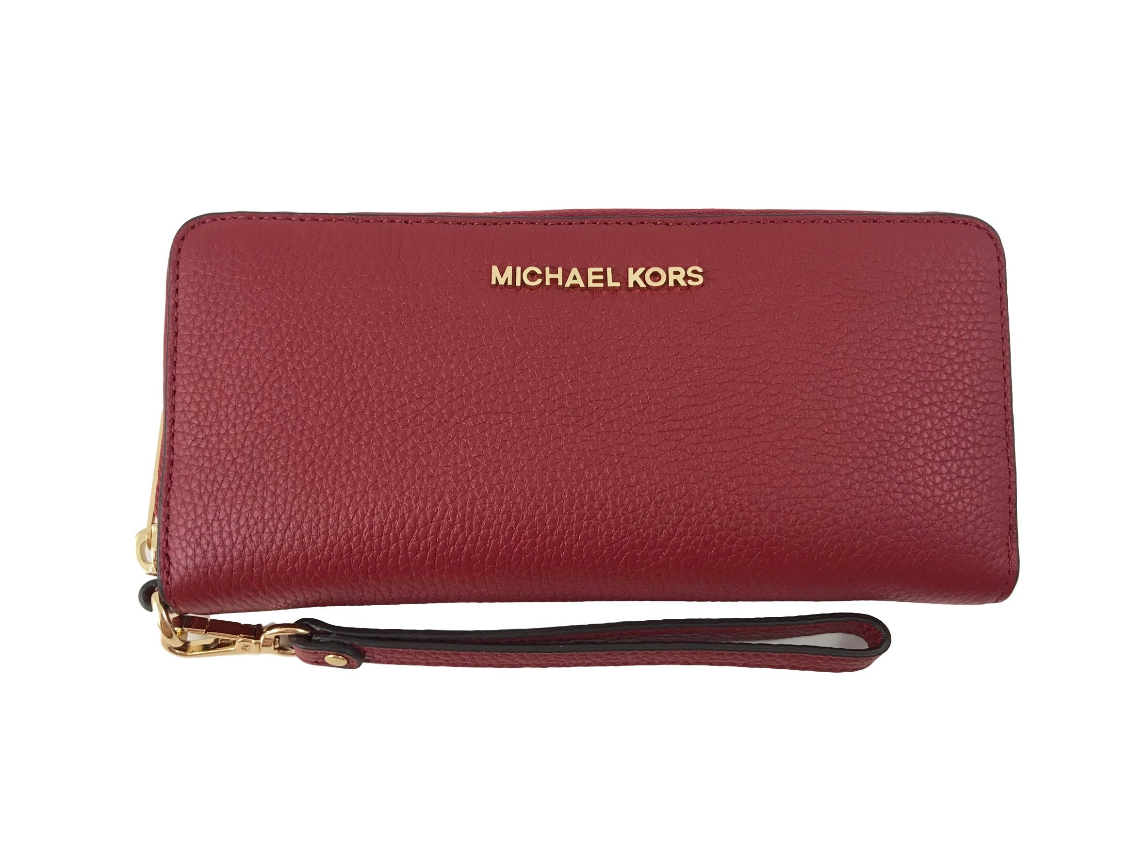 Michael Kors Jet Set Travel Continental Leather Wallet/Wristlet - Cherry by Michael Kors