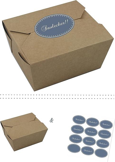 El regalo de Label | 10 x Cajas de Cartón kraft marrón con coloridas pegatinas con ...