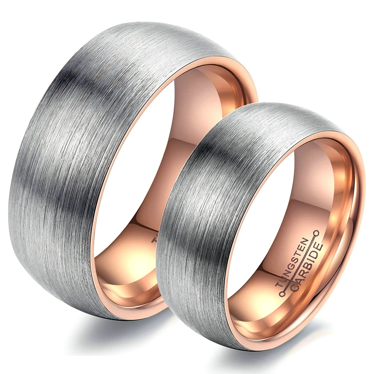 Beydodo His and Hers Rings Men Size Men Size 8 and Women Size 6 Brushed Finished Silver Rose Gold