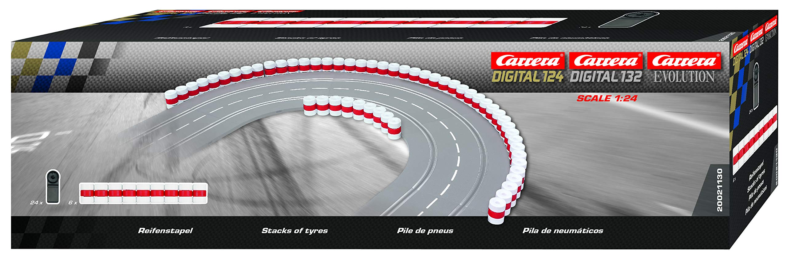Carrera 20021130 21130 Tire Stacks Guardrail Wall for Digital 124/132/Evolution Slot Car Tracks Realistic Scenery Add On Parts Accessory, White Red by Carrera (Image #1)