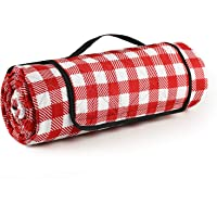 Lahawaha Outdoor Picnic Blankets, 79''x79'' Picnic Blanket Waterproof Foldable,Great for Beach, Camping On Grass. (Red…