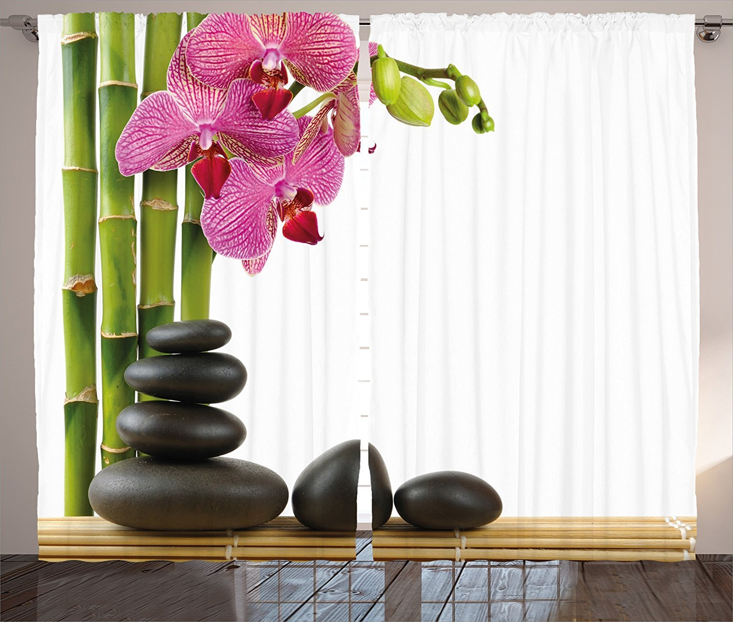 Spa Decor Curtains Beautiful Pink Orchid with Bamboos and Black Hot Stone Massage Image Living Room Bedroom Window Drapes 2 Panel Set Green Fuchsia