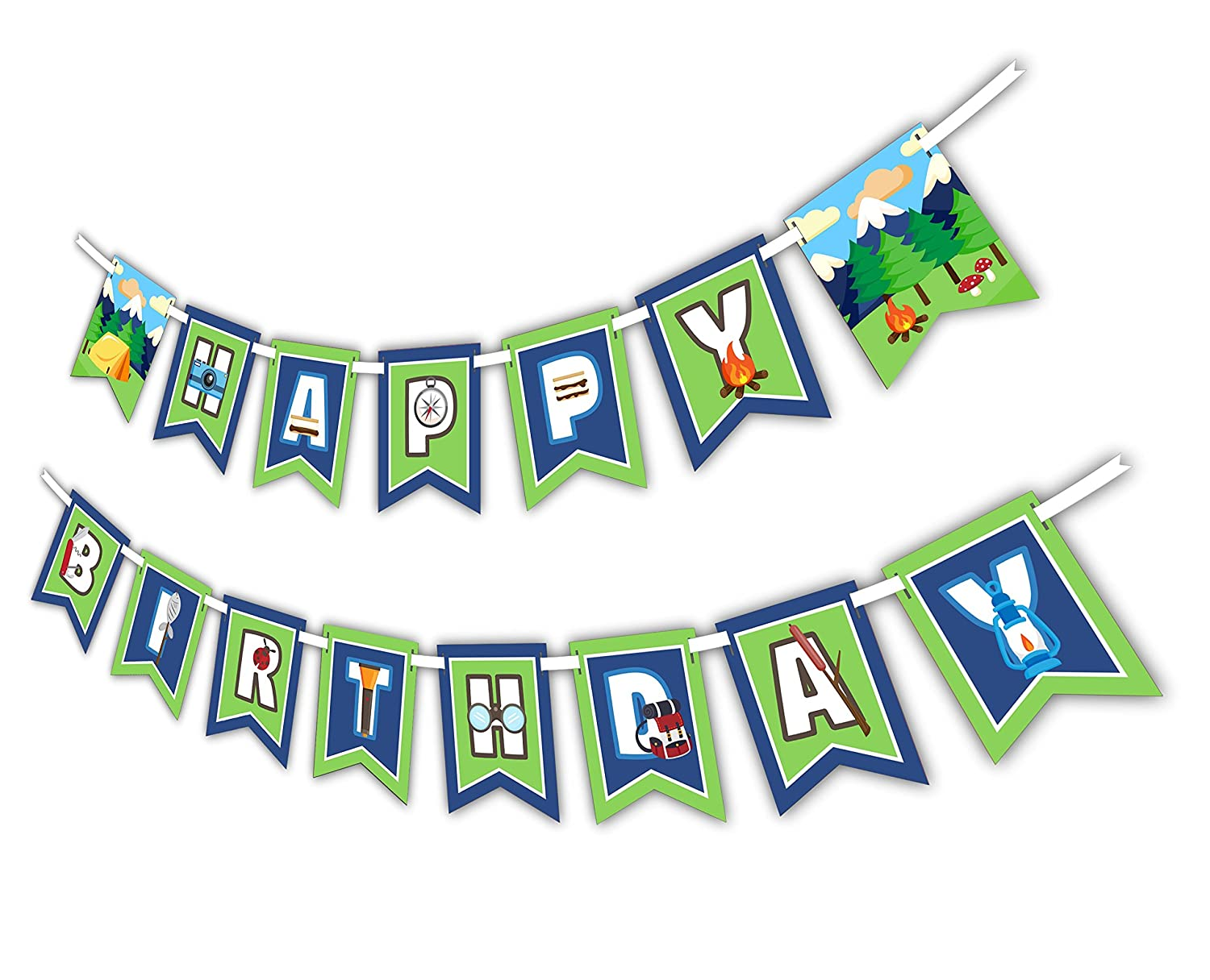 Birthday Galore Camping Adventure Happy Birthday Party Banner Decoration Includes 23ft Ribbon