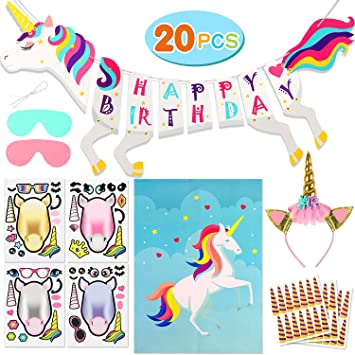 Bascolor Unicornio Cumpleaños Accesorios Cumpleaños Pancarta ...