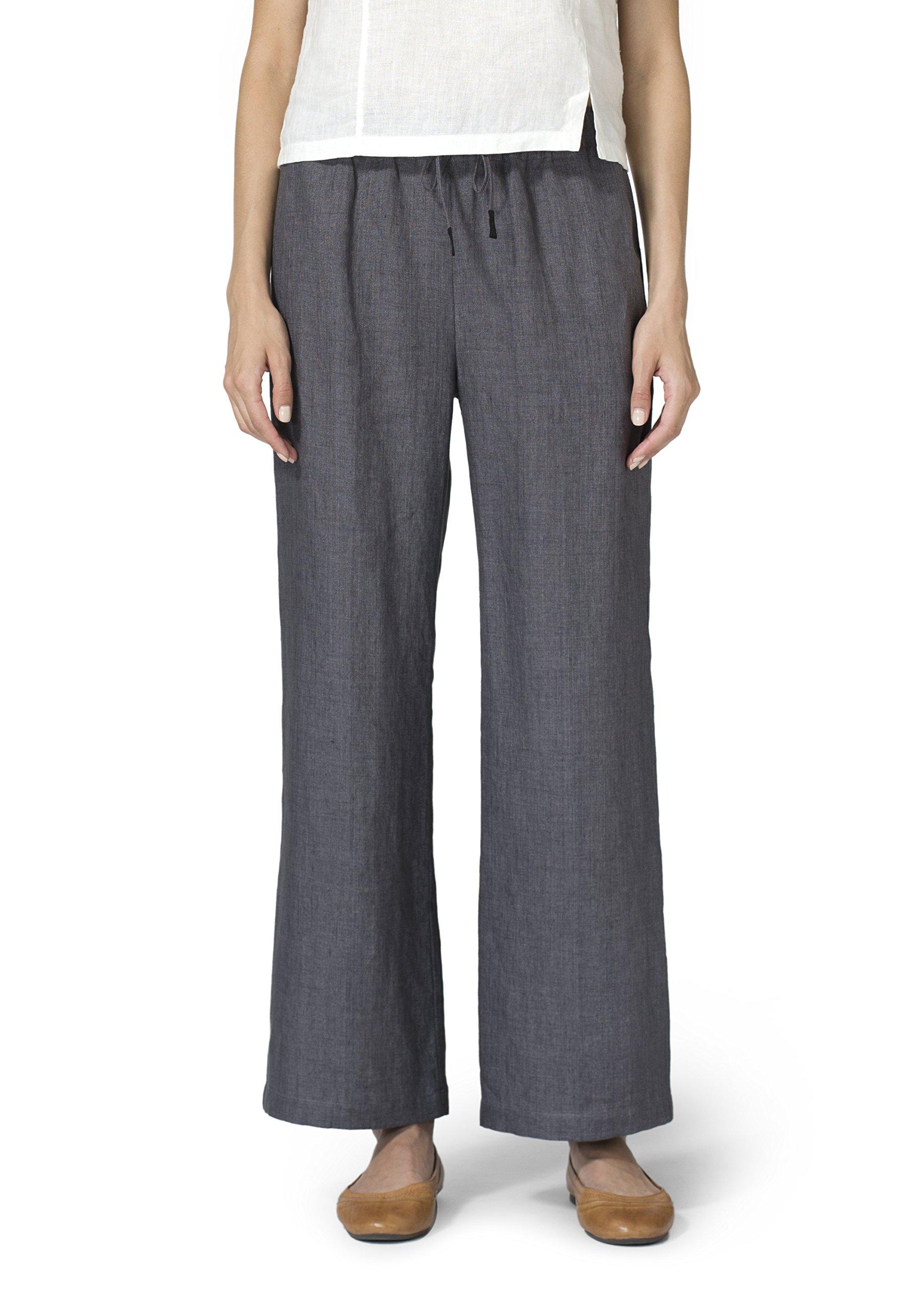 Vivid Linen Straight Pull On Pants-1X-Charcoal Gray