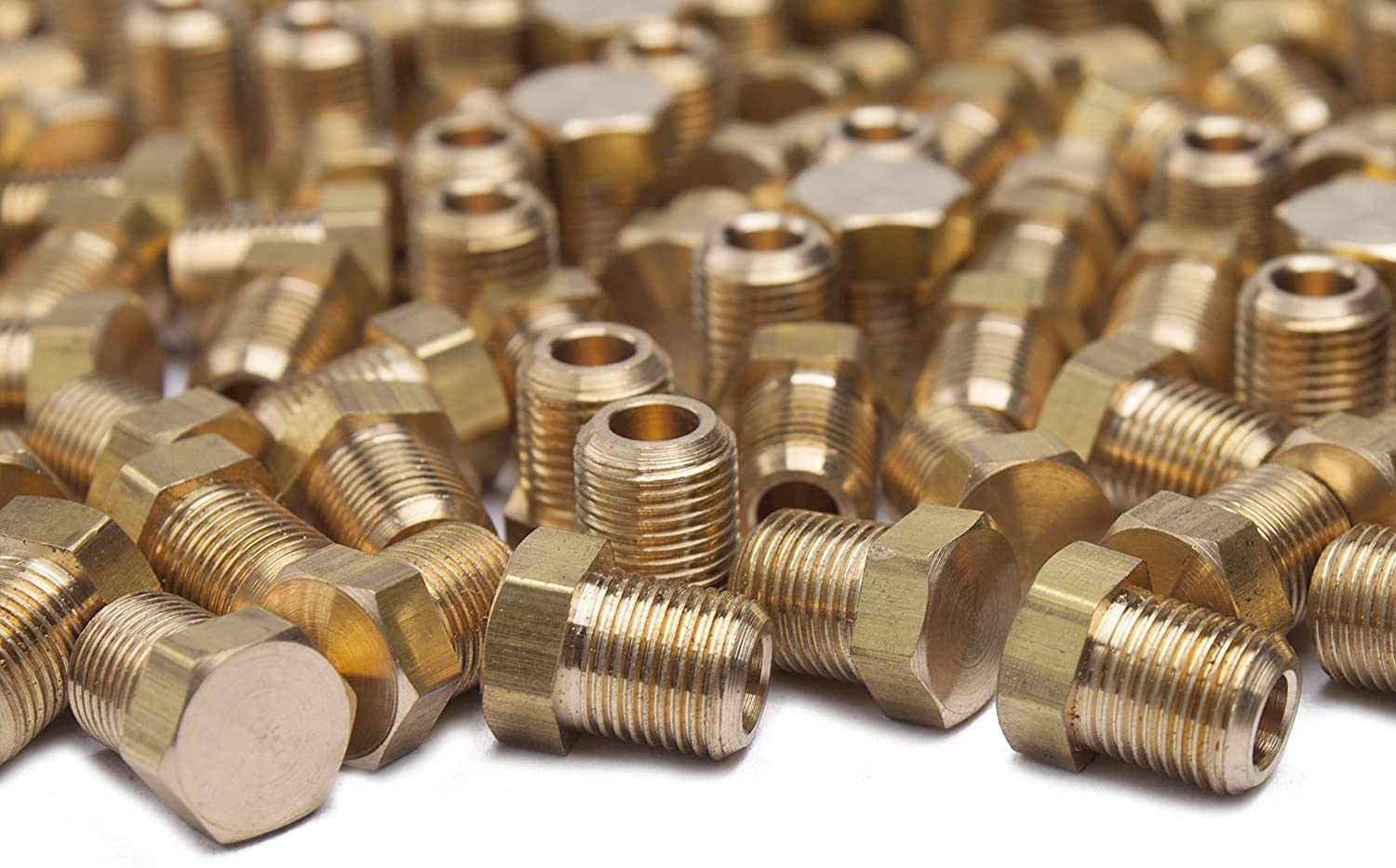 5 pcs 1//8 inch Male NPT Cored Hex Head Plug Brass Pipe Fitting NPT Fuel Water air
