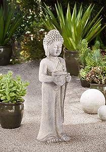 "John Timberland Standing Buddha Asian Outdoor Statue 32"" High Sculpture for Yard Garden Patio Deck Home Entryway Hallway"