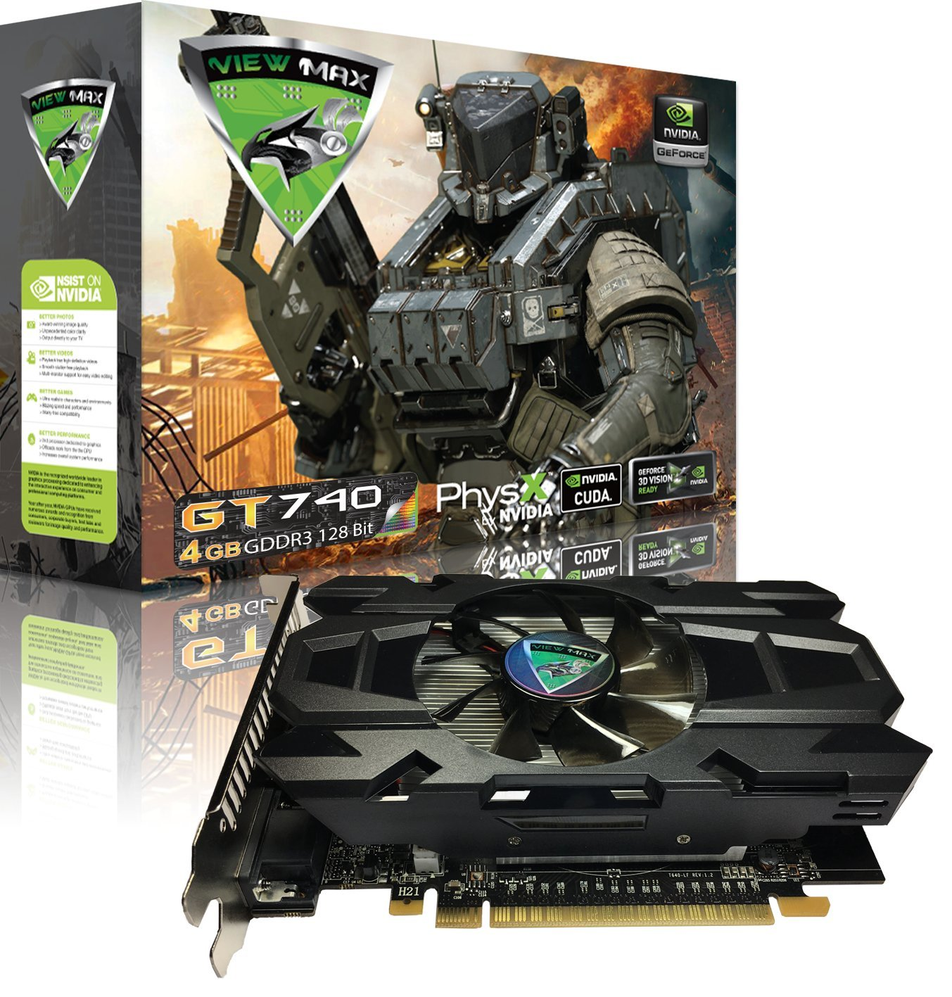 ViewMax GeForce GT 740 4GB GDDR3 128 Bit PCI Express (PCIe) DVI Video Card HDMI & HDCP Support CYBERWOLF Legendary Edition