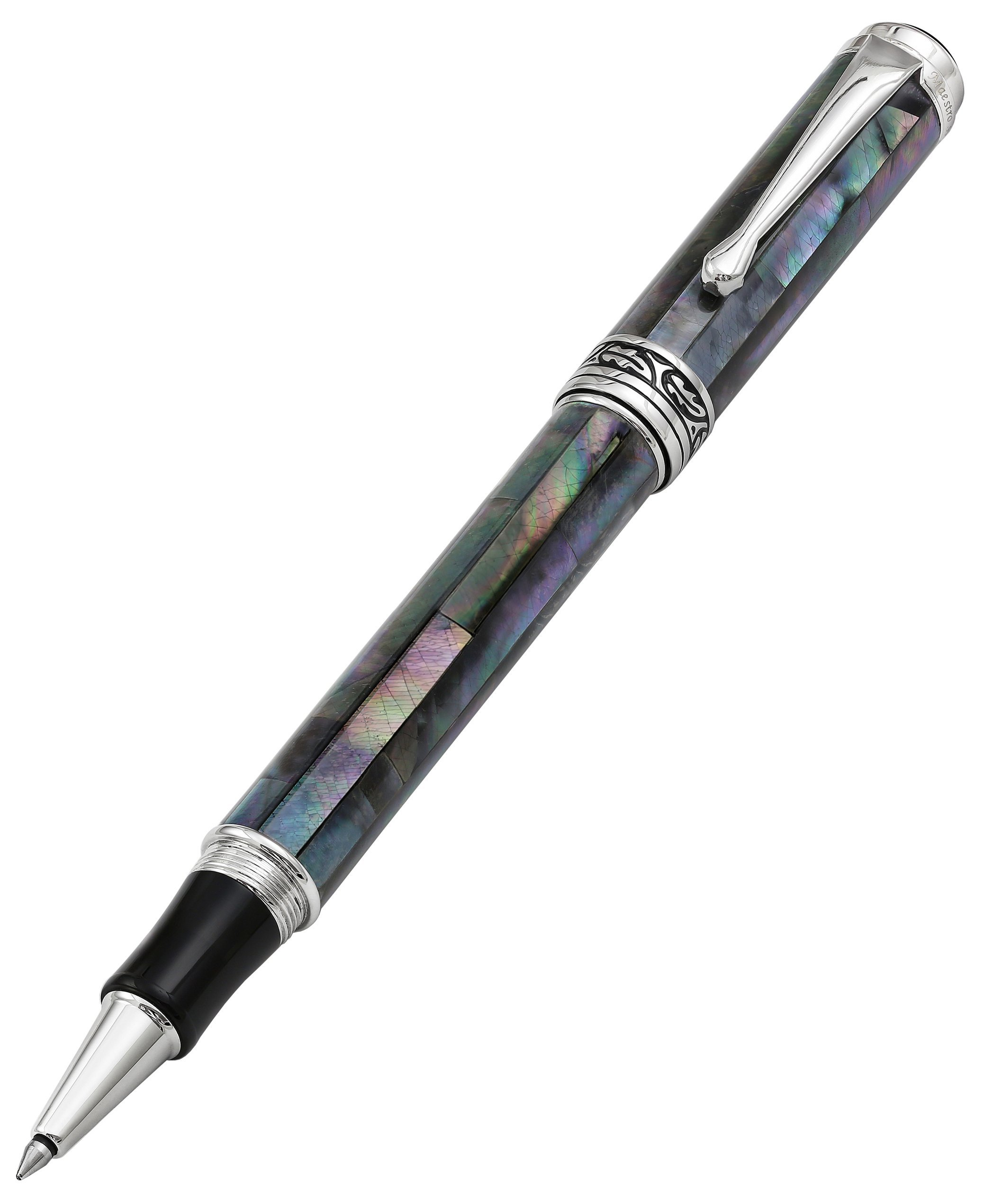 Xezo Maestro Natural Iridescent Black Mother of Pearl Platinum Plated Roller Pen. No Two Pens Alike