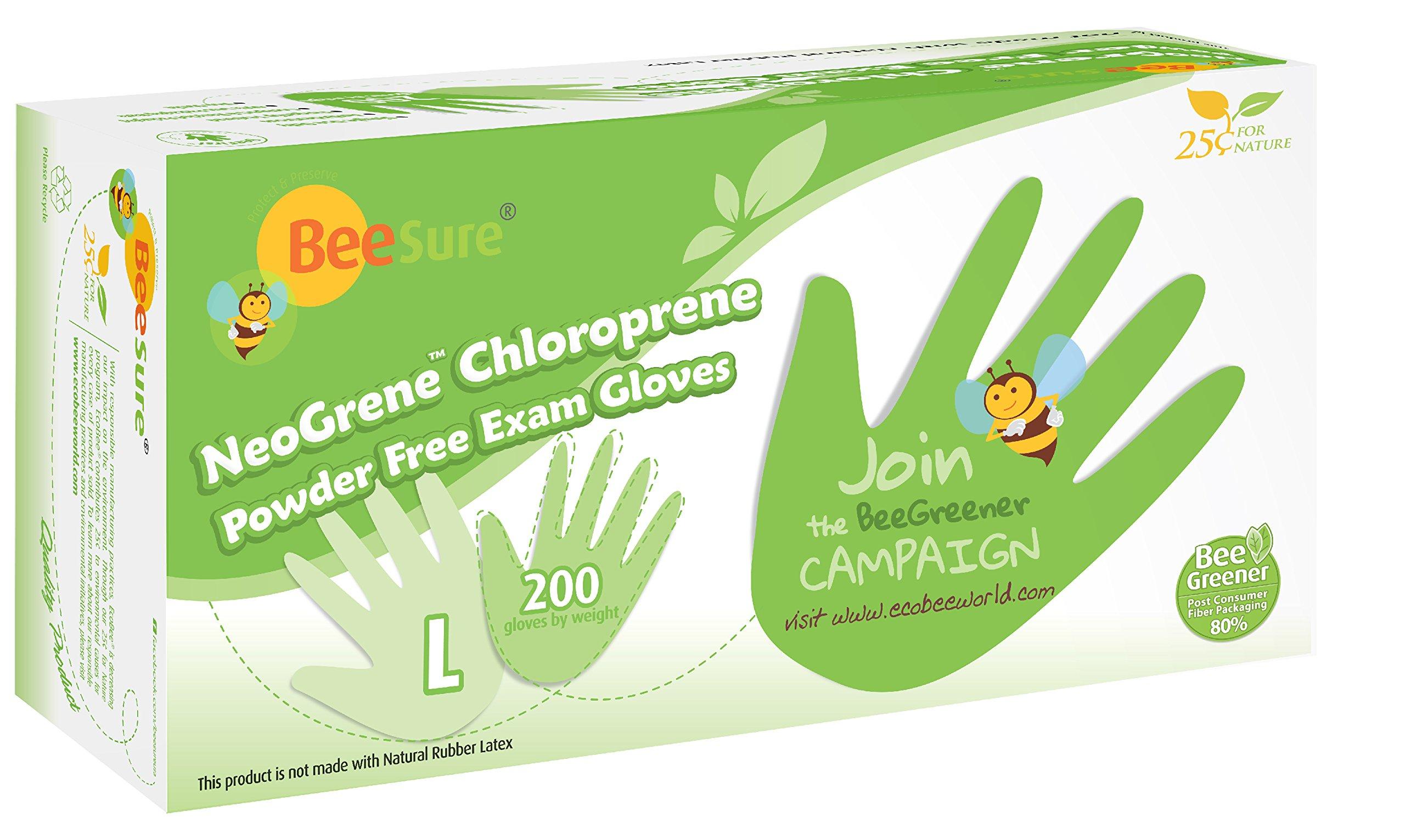 BeeSure BE1188 NeoGrene Chloroprene Powder Free Exam Gloves, Large, Lime Green (Pack of 200)