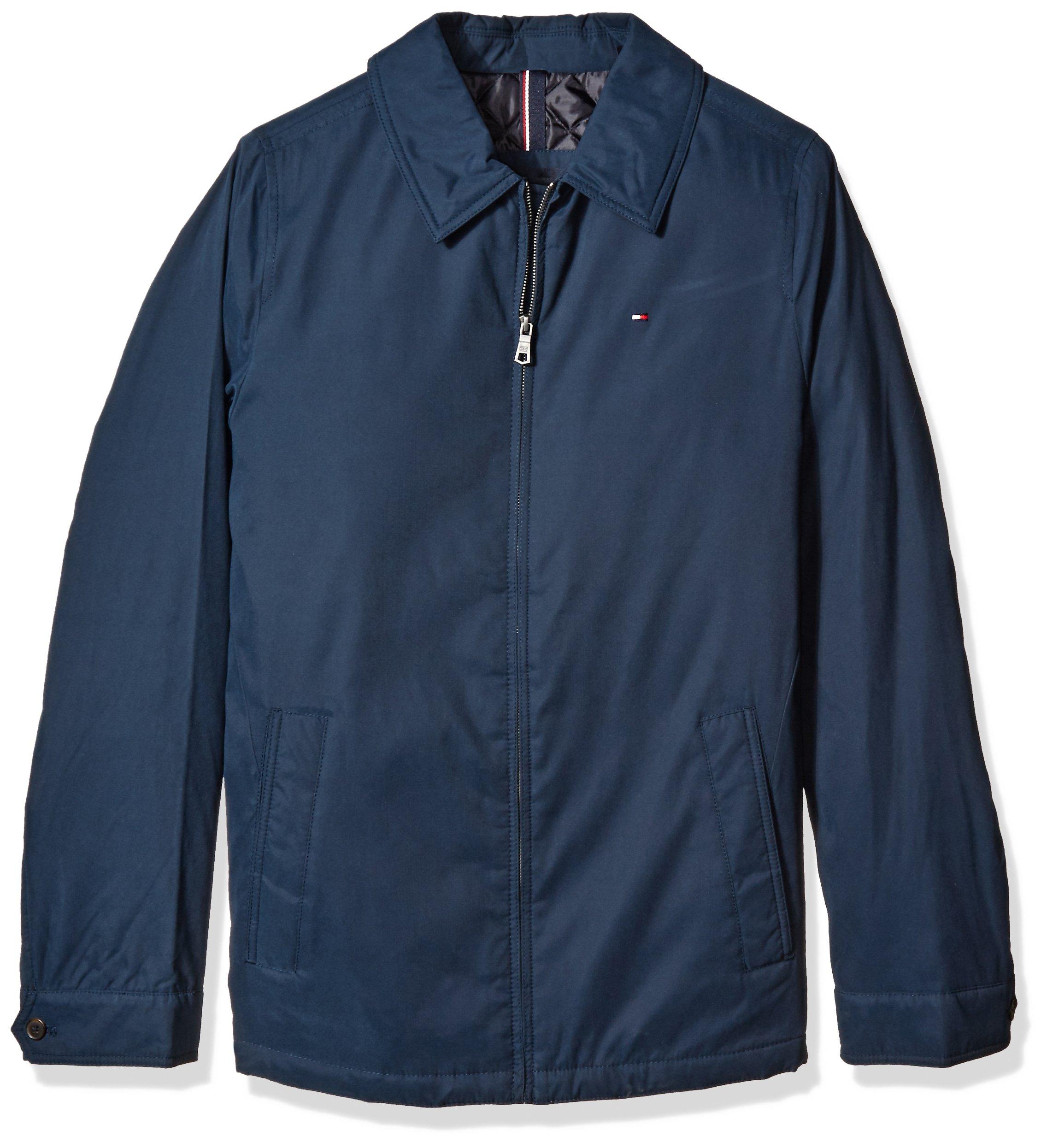 Tommy Hilfiger Men's Tall Size Micro Twill Laydown Collar Golf Jacket, Navy, XL Long/TA