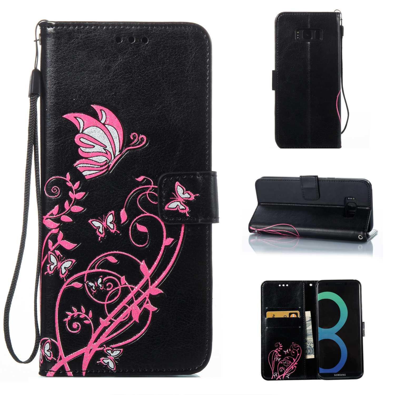 HCUI Compatible avec Galaxy S8 Plus Coque Cuir Étui Wallet Housse, Portefeuille de Protection Coque avec Fonction Support Magnétique Pochette Antichoc Coque pour Galaxy S8 Plus - Noir.