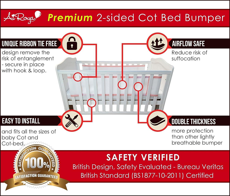 Airoya Premium Bordures de lit double couche pour un meilleur rembourrage Id/éal pour les lits /à barreaux avec t/ête et pied pleins respirant et s/ûr