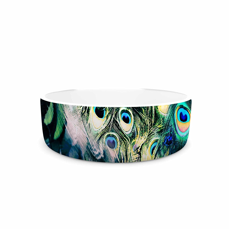 KESS InHouse Victoria Krupp Feather Mix bluee Teal Digital Pet Bowl, 7  Diameter