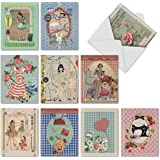 M6573OCB Tailor Fit: 10 Assorted Blank All-Occasion Note Cards Featuring Sentimental Vintage Sewing Images in a Retro Collage, w/White Envelopes.
