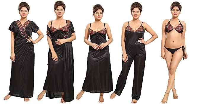 Image Unavailable. Image not available for. Colour  Tucute Women s Satin Nightwear  Set of 6 ... 049380164