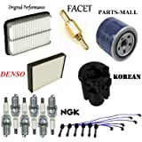 8USAUTO Tune Up Kit Air Oil Fuel Filters Cap Wire Spark Plugs FIT Chevrolet Tahoe V8 5.7L; 4WD 1996-2000