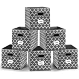 Foldable Storage Cube Bins 12x12 inches, Fabric Storage Bin Baskets Box Organizer with Labels and Dual Plastic Handles for Sh