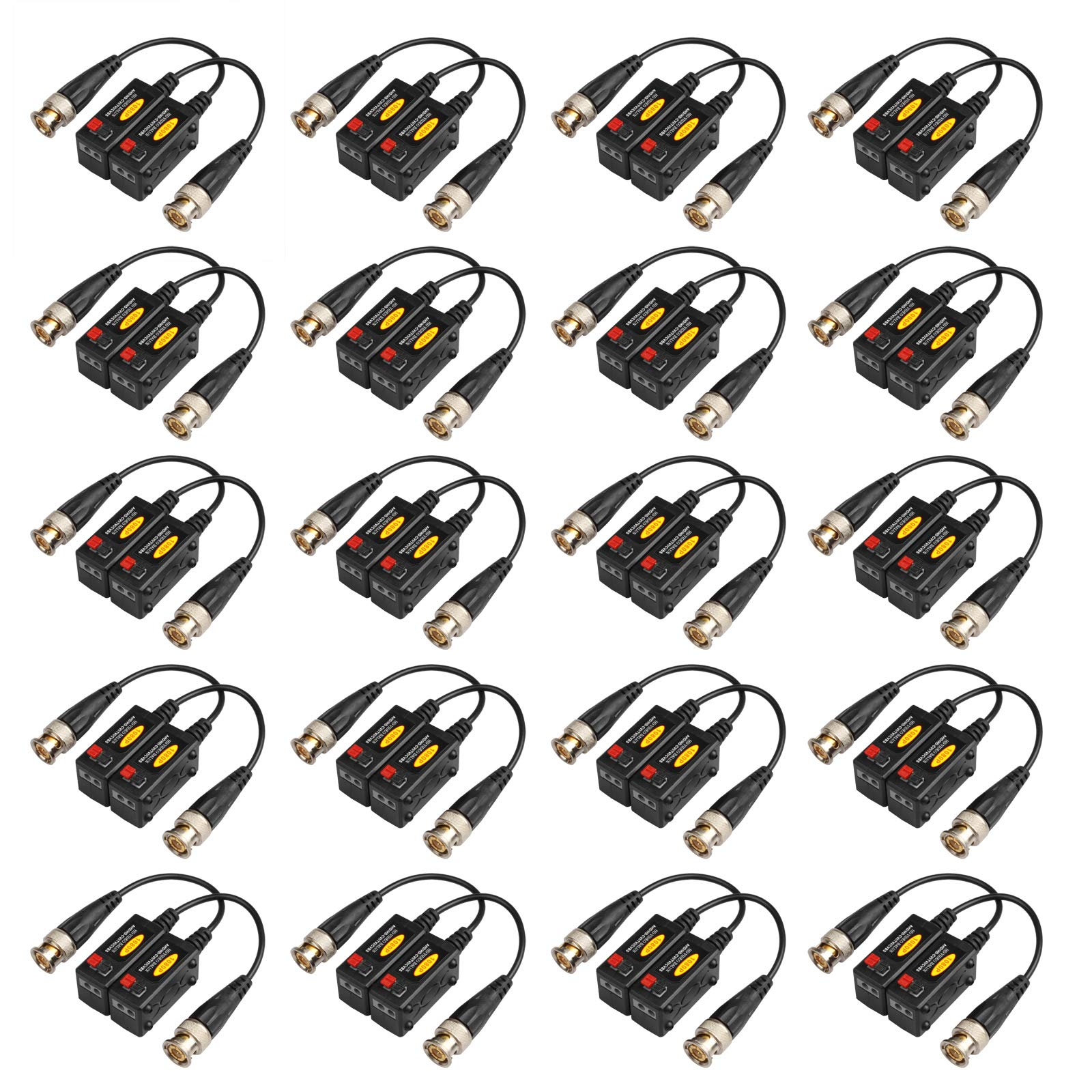 20 Pairs Passive HD BNC Video Balun Transceiver Transmitter AHD/TVI/CVI/CVBS Cable Connectors for 720P/960P/1080P/3MP/5MP CCTV Security Cameras by eoere