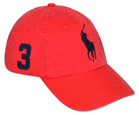 Polo Ralph Lauren Men Adjustable Pony Logo Hat (One Size, Red/navy)