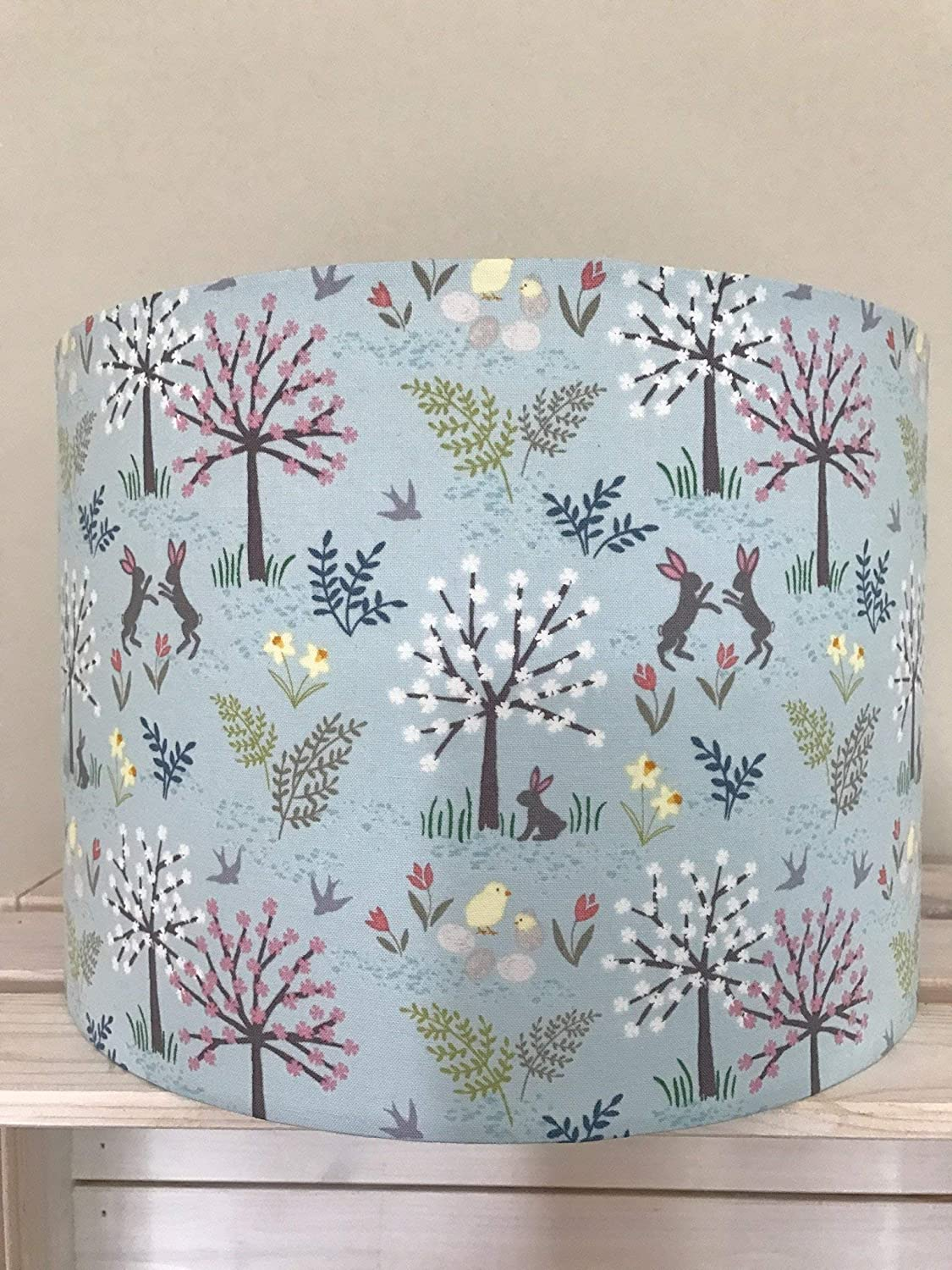 Duck Egg Blue Woodland Scene Drum lampshade with Hares, Chicks and Trees
