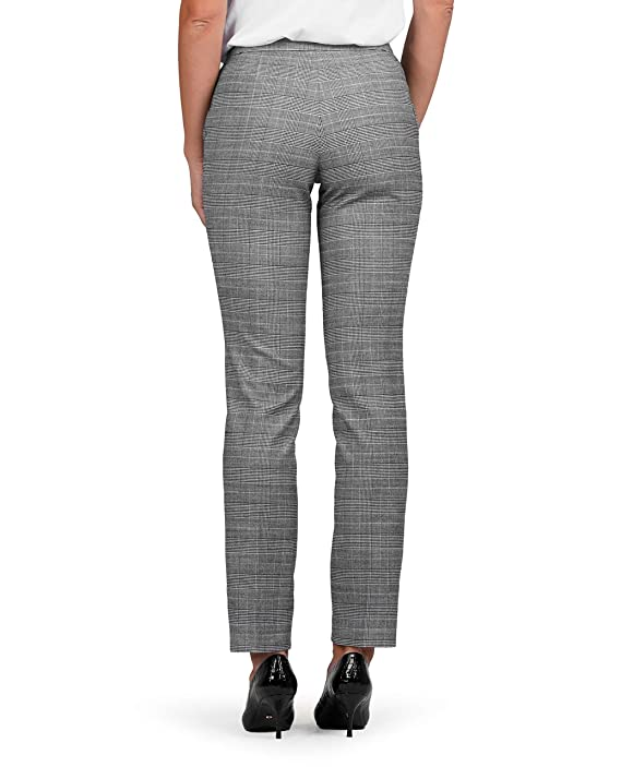 c0bed14aa832 T.M.Lewin Francesca Trousers in Black and White Check: Amazon.co.uk:  Clothing