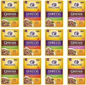 Wellness Healthy Indulgence Natural Grain Free Wet Cat Food, 3-Ounce Pouch (3) Shred Chicken & Turkey, (3) Shred Skipjack Tuna & Shrimp, (3) Gravie Chicken & Turkey, (3) Gravie Tuna & Mackerel (12 PK)